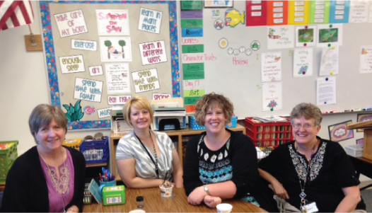 A Month of Celebrations: Dansko Recognizes Teachers and Nurses - Emily C., one of our teacher winners from Herriman, UT, poses during breakfast with her teaching team [Photo Credit: Emily C.]