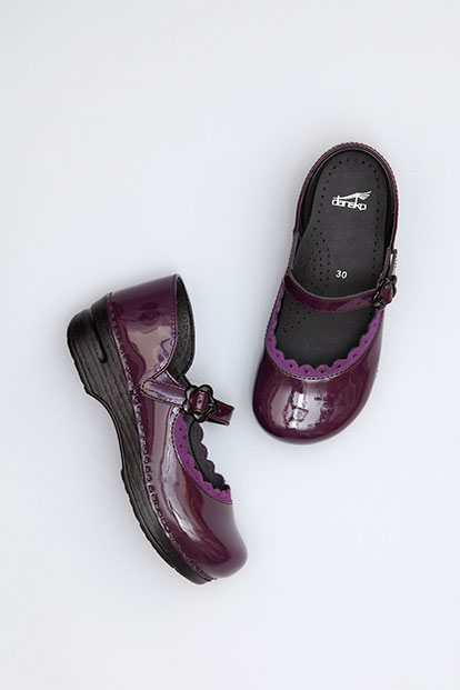 Jill Purple Patent from the Stapled Clog