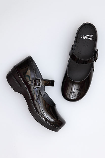 Maryjane Black Patent from the Stapled Clog