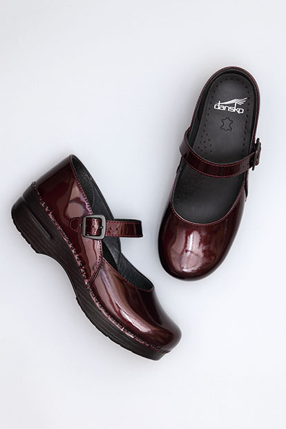 Maryjane Black Cherry Patent from the Stapled Clog