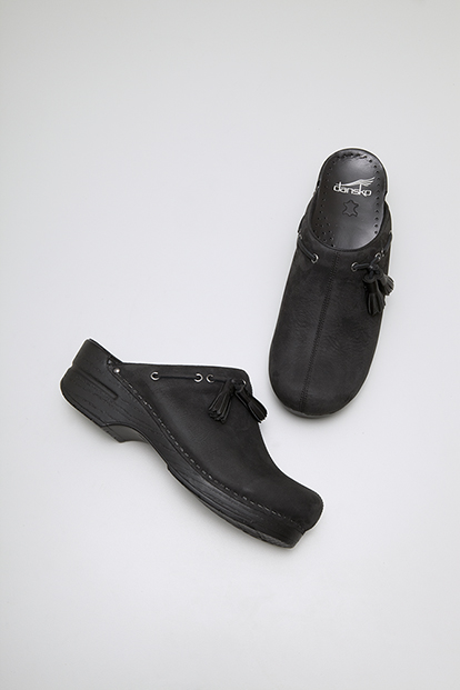 Shannon Black Milled Nubuck from the Stapled Clog