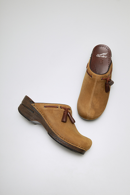 Shannon Natural Milled Nubuck from the Stapled Clog