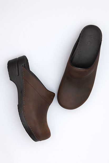 Karl Antique Brown Oiled from the Stapled Clog