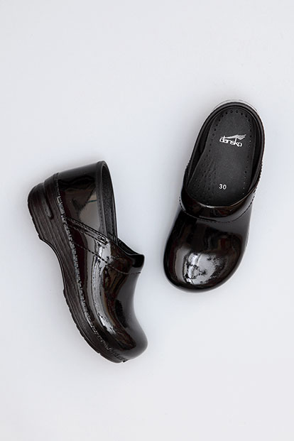 Gitte Black Patent from the Stapled Clog