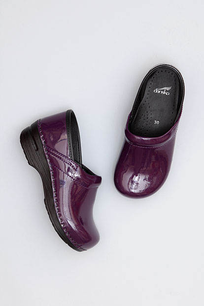 Gitte Purple Patent from the Stapled Clog