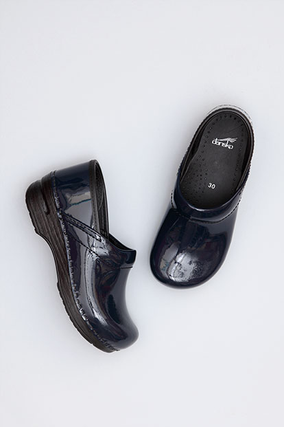 Gitte Navy Patent from the Stapled Clog