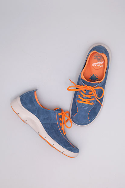 Elise Blue Orange Suede from the Sedona