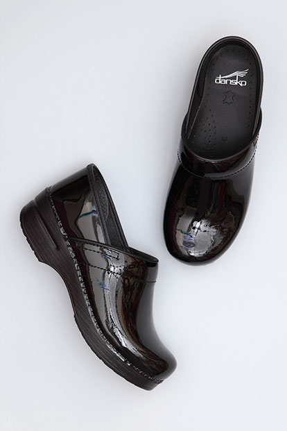 Wide Pro Black Patent from the Stapled Clog