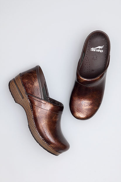 Professional Brown Textured Patent from the Stapled Clog