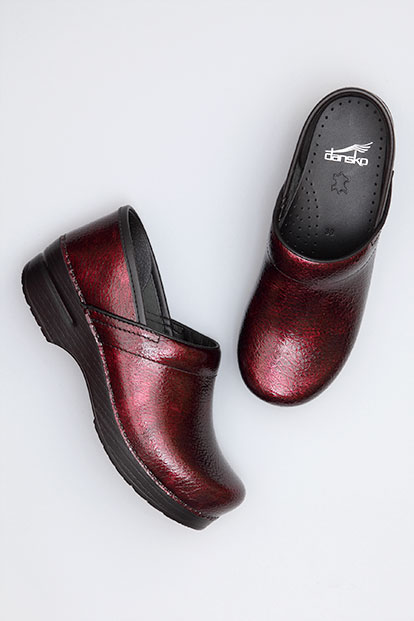 Wide Pro Red Textured Patent from the Stapled Clog