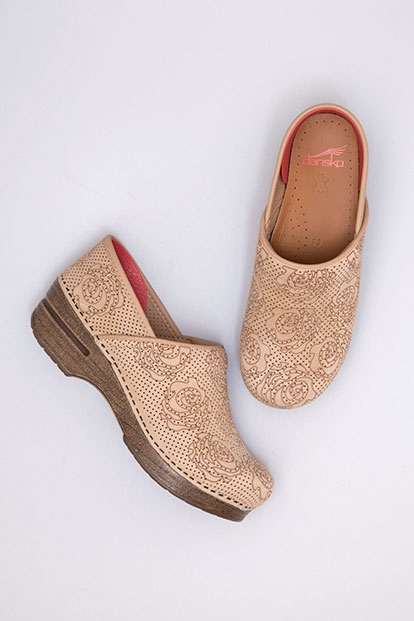 Professional Sand Floral Nubuck from the Stapled Clog