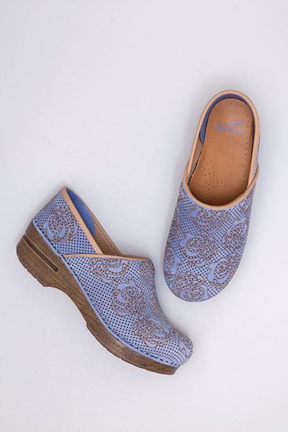 Professional Blue Floral Nubuck from the Stapled Clog