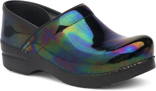 Womens Professional Clogs  in Petrol Patent Leather