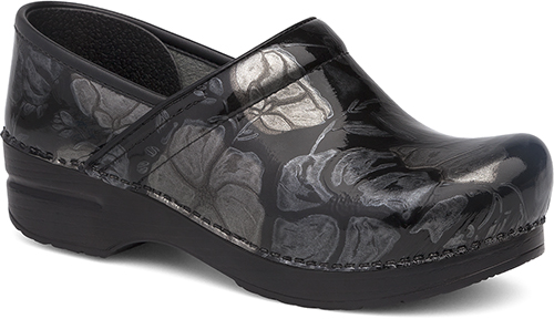 WomensProfessionalClogs  inPewterFloralPatentLeather