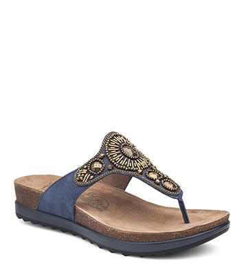 Pamela Blue Jewelled Suede from the Provence