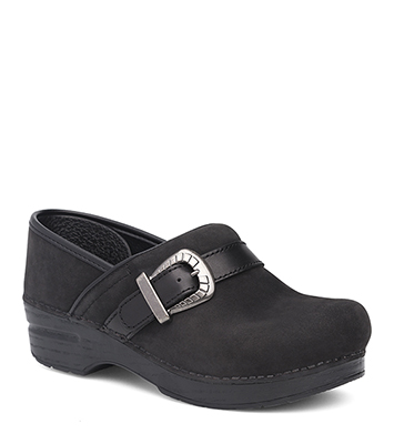 Pammy Black Milled Nubuck from the Stapled Clog