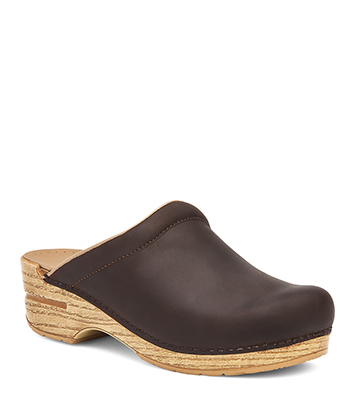 Sonja Antique Brown Oiled/Natural from the Stapled Clog