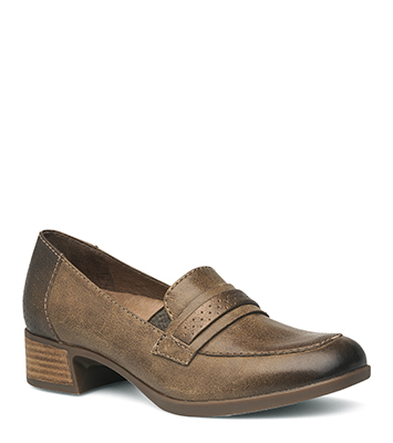 5b89bd8009c The Dansko Taupe Burnished Nappa from the Lila collection.