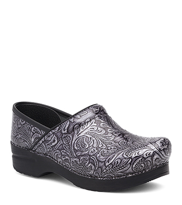 Wide Pro (Men) Wide Pro Grey Tooled Patent from the Stapled Clog