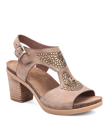 cf602deeb2e The Dansko Taupe Shimmer Suede from the Deandra collection.