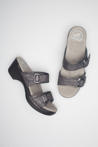 Sophie Black Pewter Croc Textured Patent