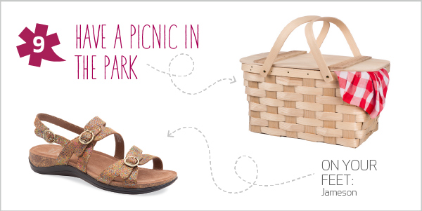 10 Spring Adventures for 10 Dansko Shoes - 9. Have a picnic in the park: Pack your favorite foods—and invite your closest friends—to a peaceful meal in the park. When you're finished eating, unveil a surprise dessert for all to enjoy.   On your feet: Jameson