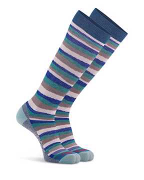 Picture of Fun Stripe Knee High Teal Compression Sock